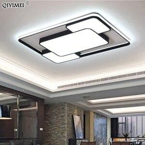 Image 2 - מודרני בית תפאורה led נברשת תאורת סלון חדר שינה קישוט לבן שחור ברזל גוף עם שלט רחוק משלוח חינם
