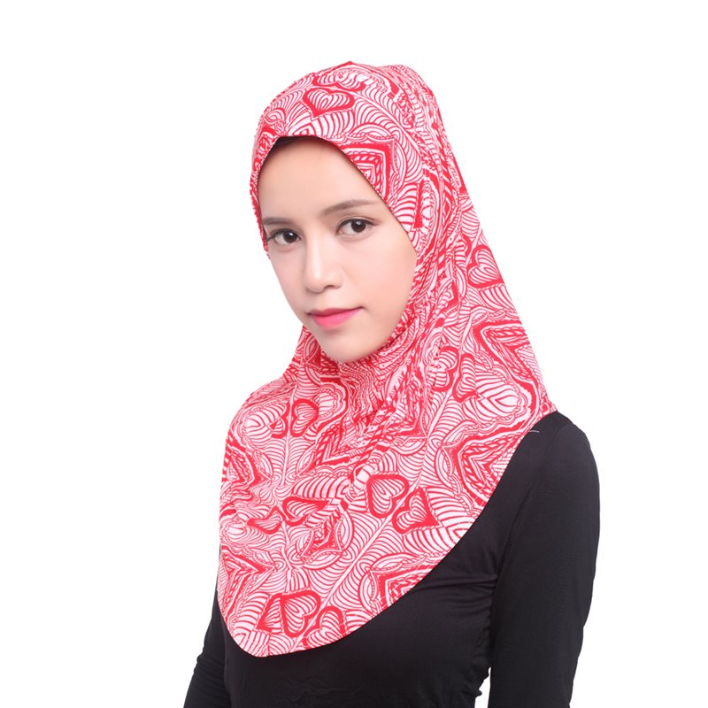 Islamic Scarf Hijabs Women Printed Ethnic Style Turban Elegant Fashion Red Green