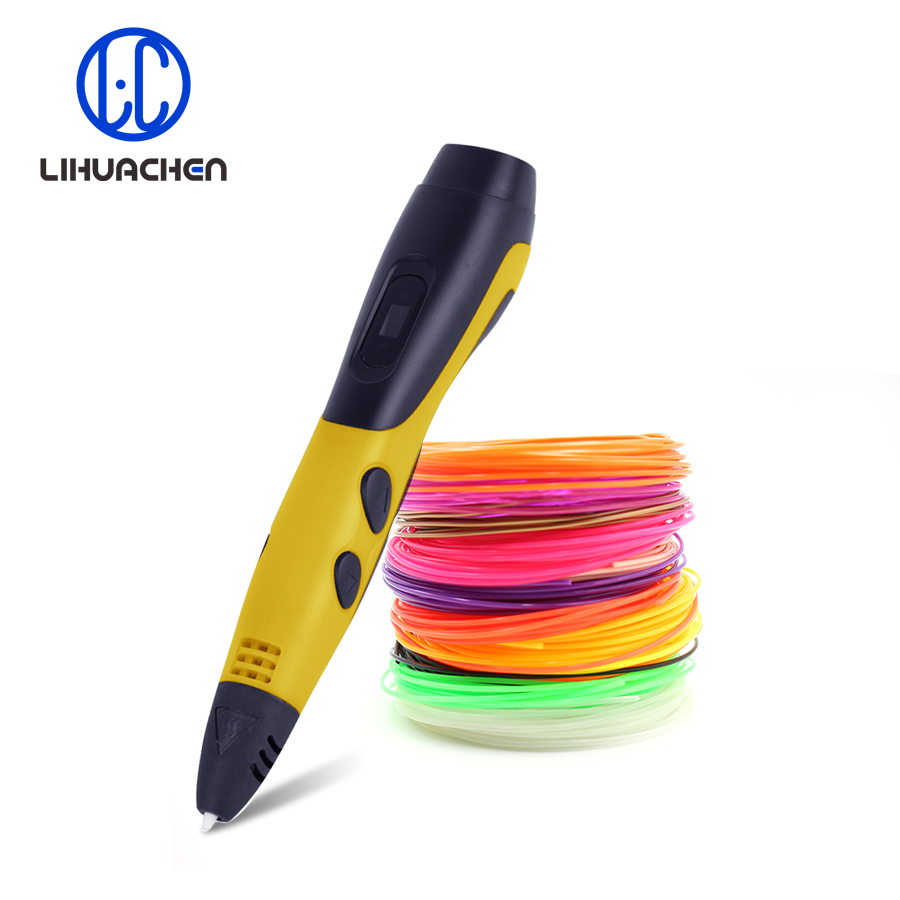 lihuachen 06A 3d drawing pen 100 and 200 Meters 3d printer ABS filaments Use the USB plug DC 5V 2A 3D Printing Pen for Kids new arrival 3d printing pen with 100m 10 color or 200 meter 20 color plastic pla filaments 3 d printer drawing pens for kid gift