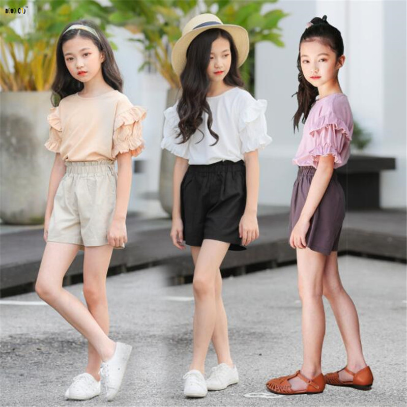 d825102ea455 Children Summer Outfit Girls Clothing Set T Shirt And Shorts Solid Casual  Cotton Kids Clothes Suits