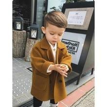 חורף מעילי בני מוצק צמר כפול חזה תעלת תינוק מעיל דש 3 4 5 6 7 Y ילדים הלבשה עליונה ילד מעיל רוח