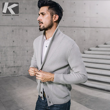 9d4080d009cb KUEGOU New Autumn Mens Thick Sweaters 100% Cotton Gray Knitted Cardigan  Knitting Brand Clothing Man s