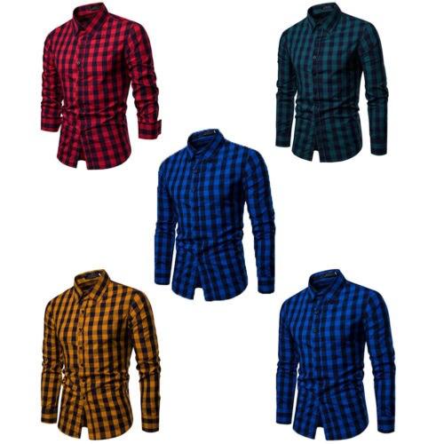 Larga Azul Hombre Para Rojo Casual amarillo De Blue Vestido Slim Negocios Amarillo royal Green Corte Verde Plaid Camisa Rojo Lujo Formal Oscuro Manga dark 5w7q44x0E