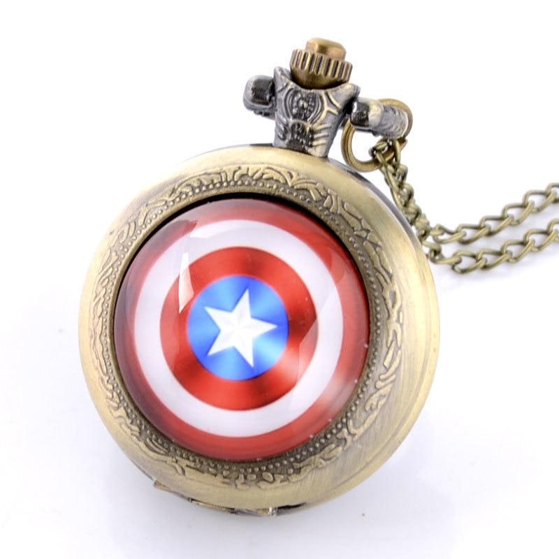Pocket Watch Men Captain America Theme Full Hunter Quartz Engraved Fob Retro Pendant Chain Gift Pocket Watch Men's Quartz
