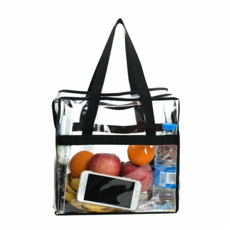 Clear Plastic Tote Bag Women Transparent PVC Shopping Handbag Stadium Security