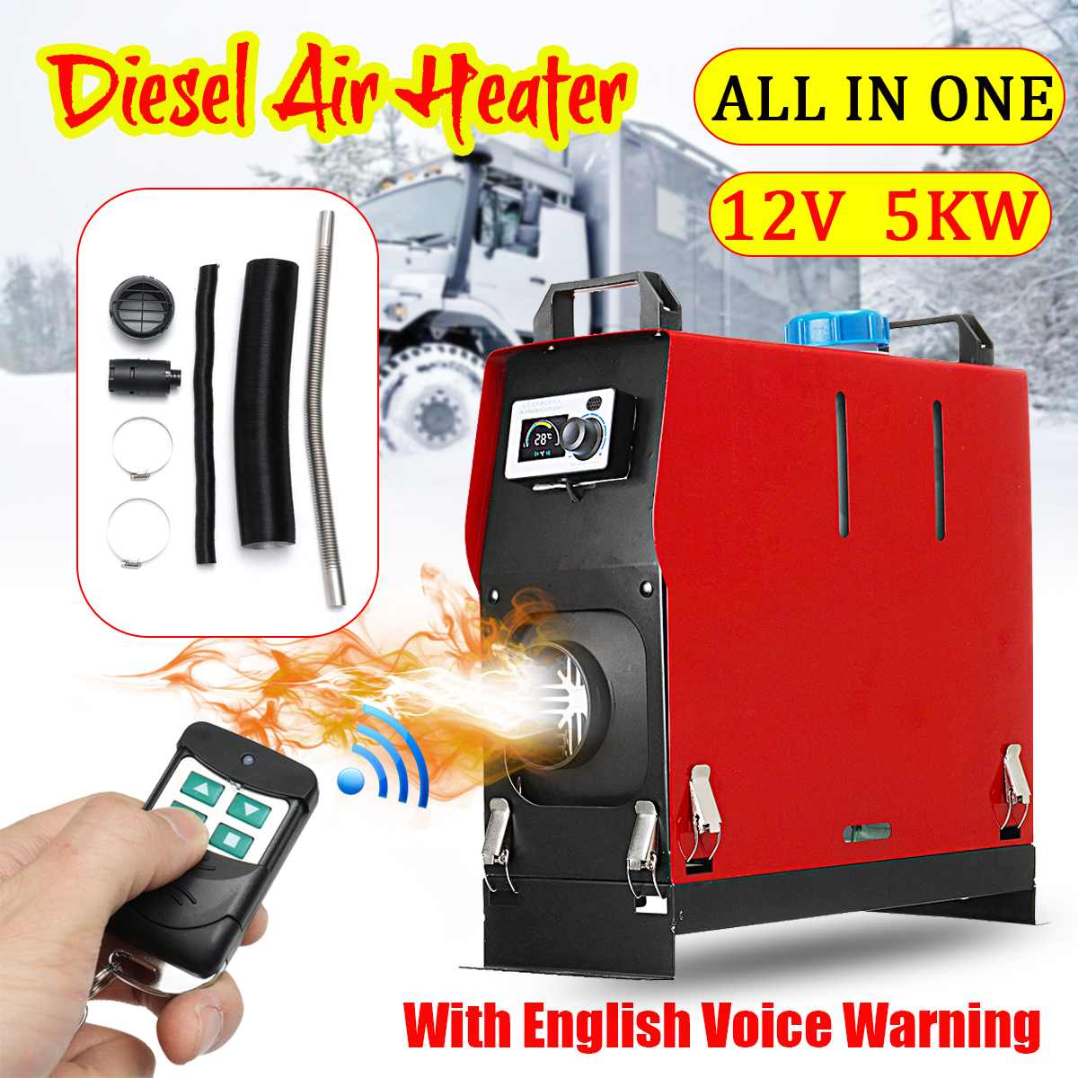 5KW 12 v L'intégration Trous Simples Air Diesels Réchauffeur D'air de Stationnement LCD Écran Interrupteur Chauffage De la Voiture Avec Télécommande Économie espace