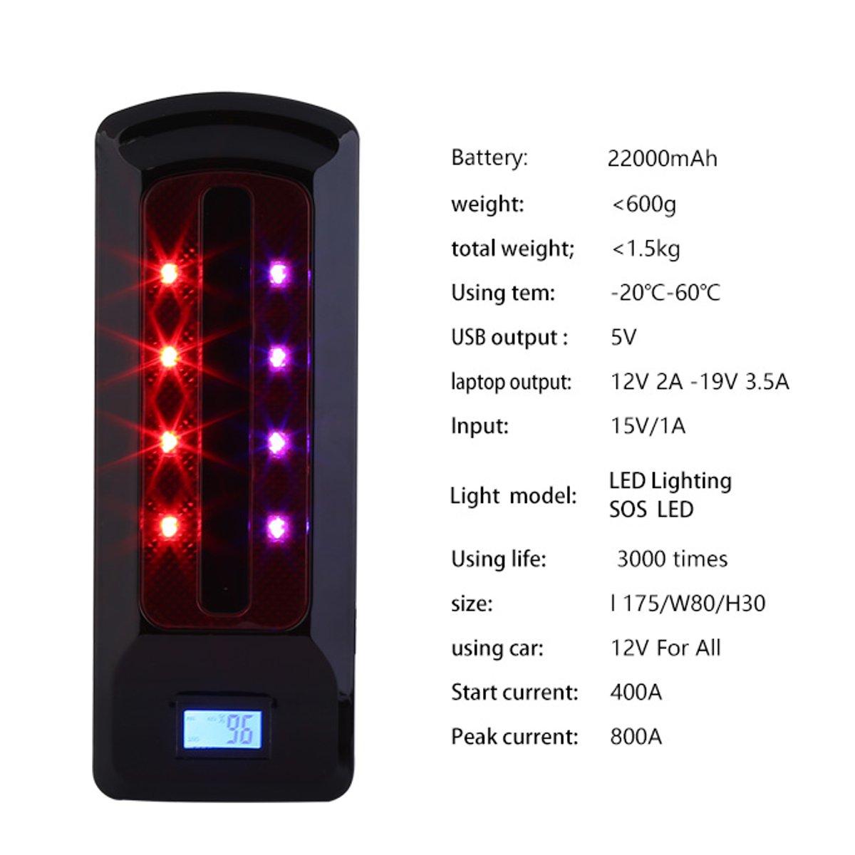 12V 99800mAh Car Jump Starter LED Battery Charger Booster Emergency Power Bank