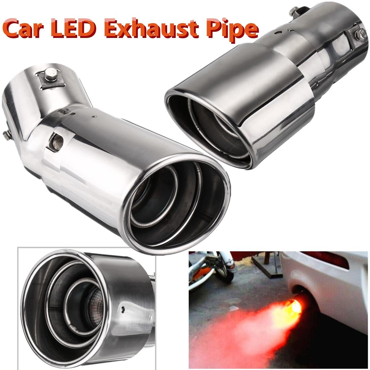63mm Inlet Blue LED Steel+Carbon Exhaust Tip Car Muffler Pipe Decoration Light