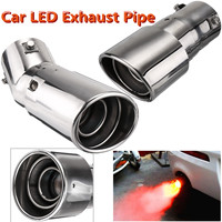 Universal 63mm Inlet Car Exhaust Pipe Muffler Exhaust Tip LED Red Light Rear Tail Tube Stainless Steel