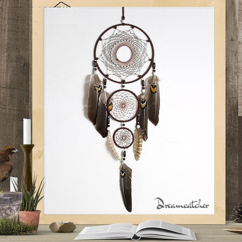 Ловец снов с перьями орла, большое 3 железных кольца, домашний кулон, индийский кулон в виде Ловца снов, подарок, свадебное украшение|Ловцы снов и подвесные украшения|   | АлиЭкспресс