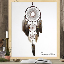 Eagle feather dream catcher big 3 iron ring indoor pendant Indian gift wedding decoration