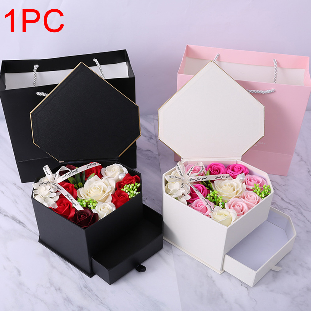 Party Heart Soap Flower Petal Gift Box Decoration Valentine's Day Rose Romantic Double Drawer Wedding Bath Body Girlfriend
