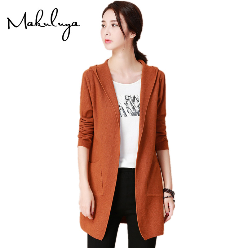 Makuluya Women Coats Cardigans Trench-Qw Long-Sleeve Loose Autumn Winter Cotton Casual