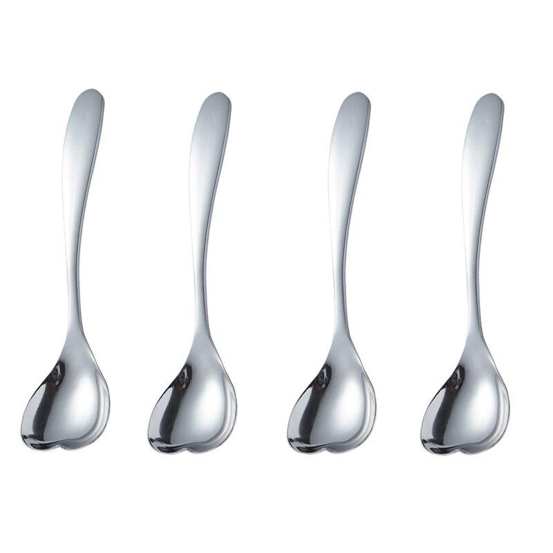 Love Spoon Stainless Steel Coffee Spoon, Dessert Tea Appetizer Cake Ice Cream Sugar Spoon 4Pcs