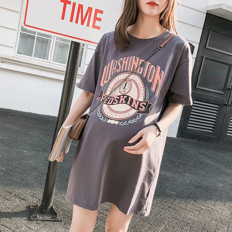 2018 summer new maternity dress fashion pregnant women s short sleeved T shirt dress loose big