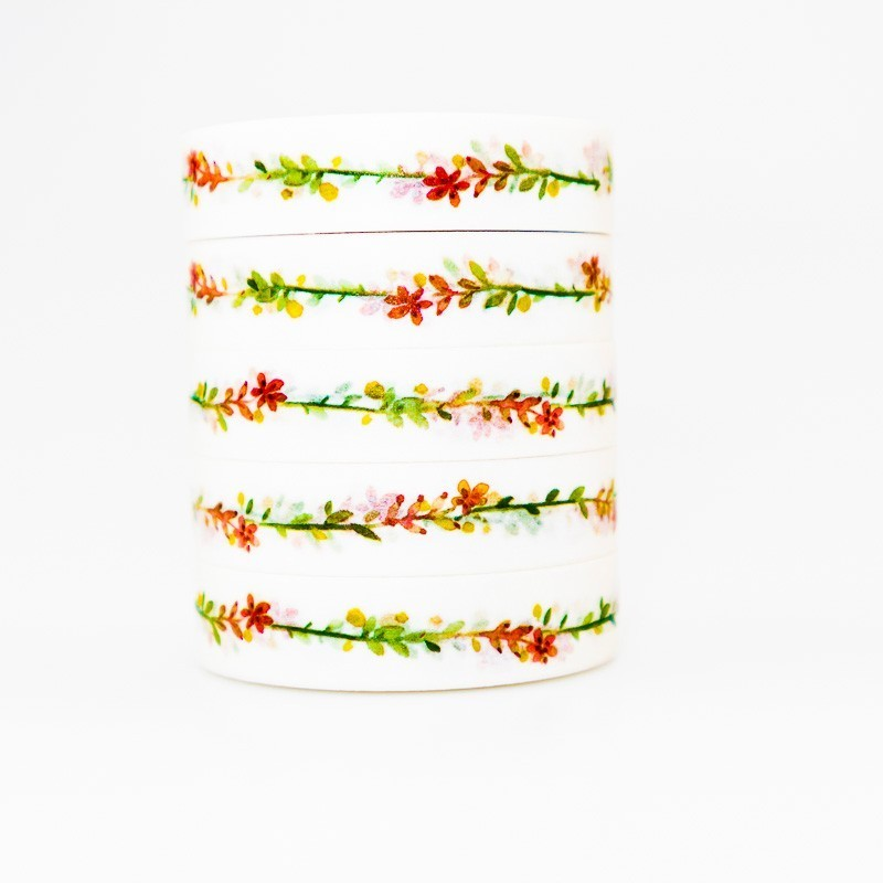 Colored Different Leaves Washi Masking Tape Sticky Color Decorative Tape Set DIY Decoration Office Stationery Scrapbook 1PCS
