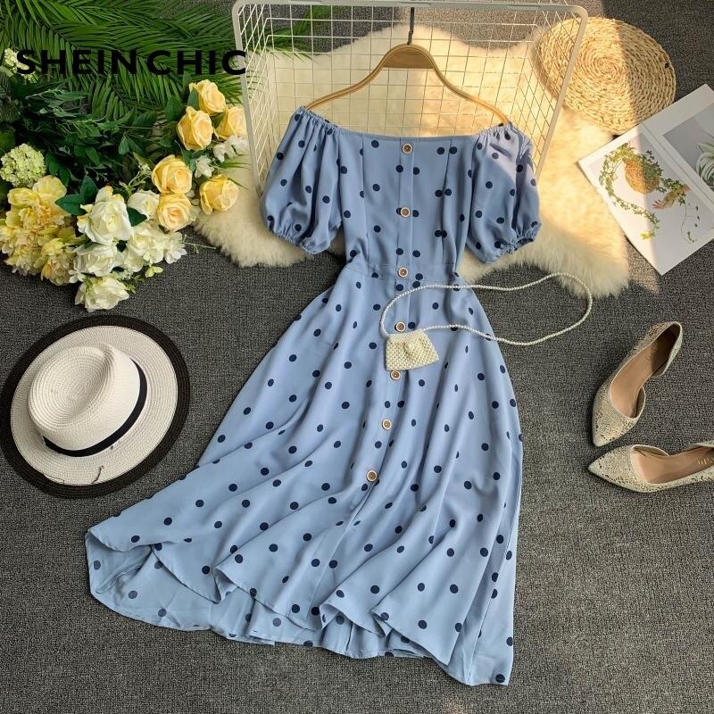 2019 Elegant Blue Polka Dot Women Dress Summer Boho Chic -4260