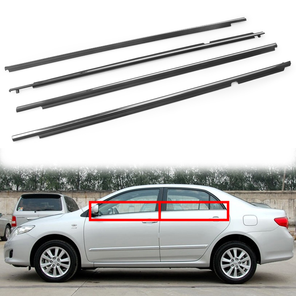 4PCS Chrome Door Seal Belt Molding Weatherstrip Weather Strip for Toyota Corolla 2009 2010 2011 2012