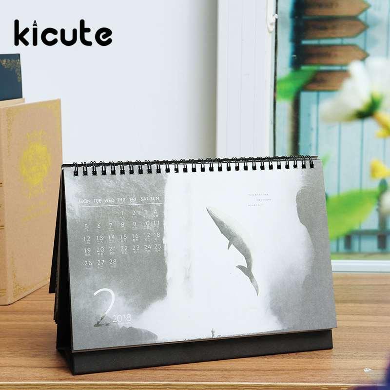 Kalender Kicute 2018 Jahr Schwarz Weiß Stil Luminous Kalender Schreibtisch Stehenden Papier Multifunktions Organizer Schedule Planer Memo Kalender