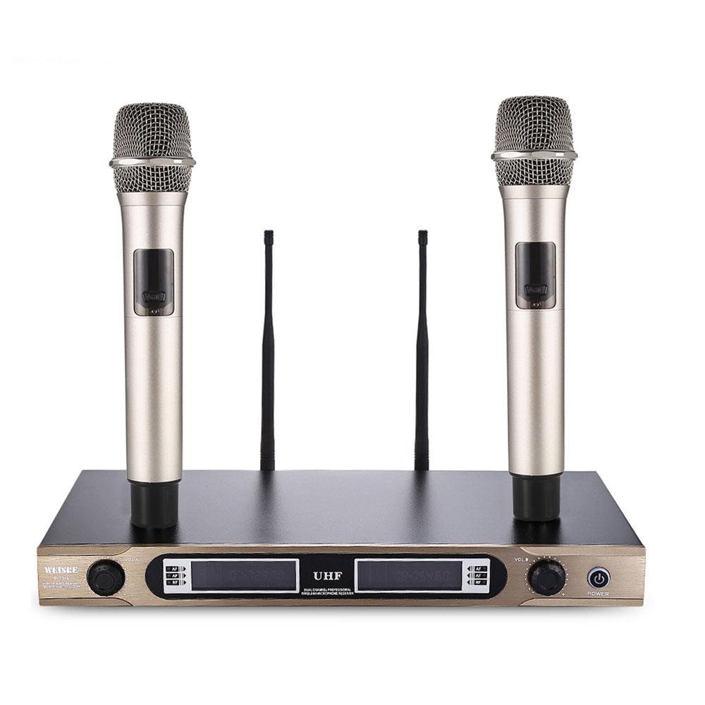 WEISRE U-3316 UHF Dual Channel Receiver Karaoke 720 - 770MHz Professional Wireless Handheld Microphone Set With 2 MicrophoneWEISRE U-3316 UHF Dual Channel Receiver Karaoke 720 - 770MHz Professional Wireless Handheld Microphone Set With 2 Microphone