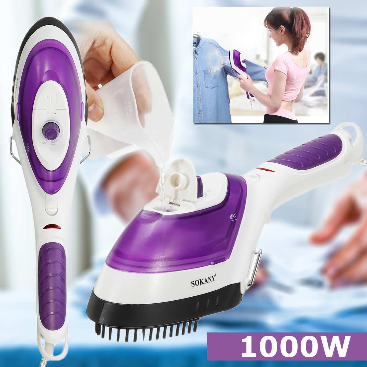 1000W 220V EU Plug Handheld Clothes Garment Steamer Fast-Heat Portable Steam Iron Home Travel Capacity 70ml Strong Hotels Simply