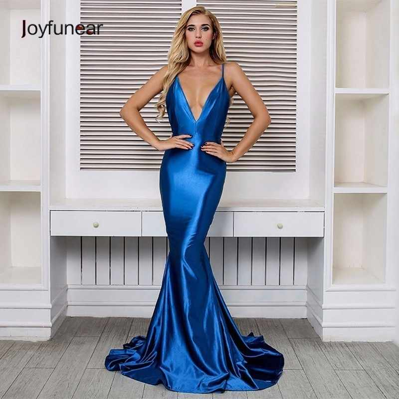 f8e939569a85 Joyfunear Maxi Dress Summer Backless V Neck Sexy Spaghetti Strap Dress Women  Elegant Skinny Long Dresses