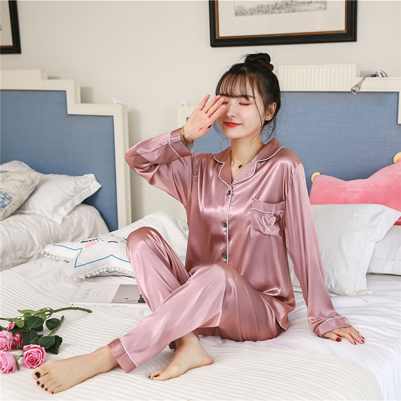 2019 Summer Autumn Sleepwear Embroidery Satin Silk Women Long Sleeve Pajamas Sets With Pants Sleep Lounge Pijama Pyjama