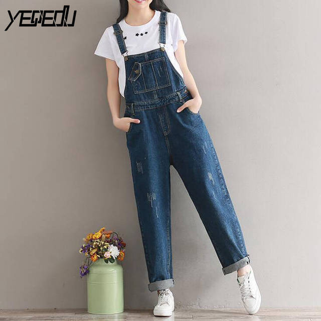 1130 Cropped Women Jumpsuit Romper Trousers Loose Denim Overalls