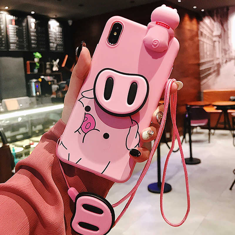 Cute Pink Pig Doll Case For iPhone X XS Max XR 10 Silicone Phone Stand Holder Cover For iPhone 6S 8 7 6 Plus Case Pig Lanyard