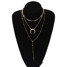 Bohemian Moon Pendant Choker Necklaces for Women Handmade Beads Crystal Long Chain Necklace Jewelry