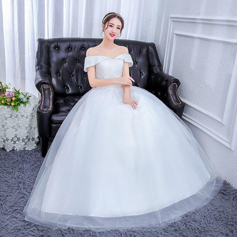 White Wedding Dress Simple Princess Ball Gown Off Shoulder Organza Elegant 2019 Lace Back Vestido De Noiva Renda