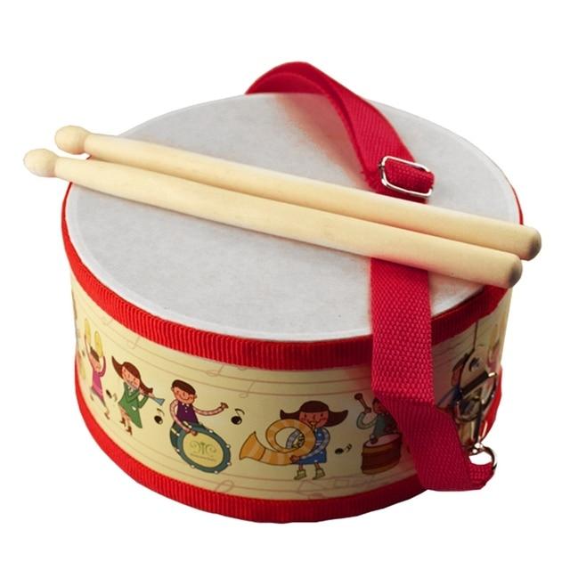 Tambor de madeira crianças cedo educacional instrumento musical para crianças brinquedos do bebê bater instrumento mão tambor brinquedos
