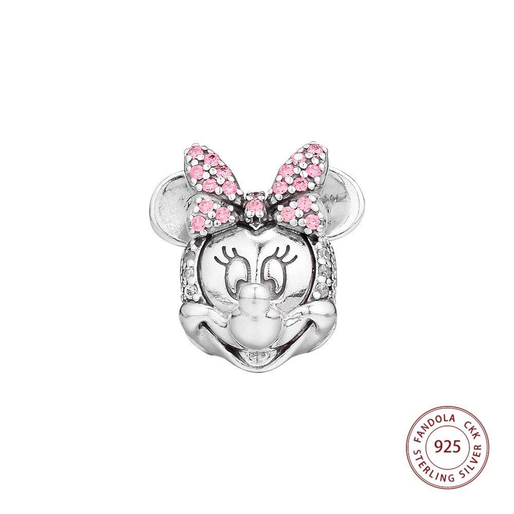Genuine 925 Sterling Silver Mouse Shimmering Ritratto Clip Fermacorda e ganci Bead Pendenti e Ciondoli per Monili Che Fanno Adatto Bracciale Originale