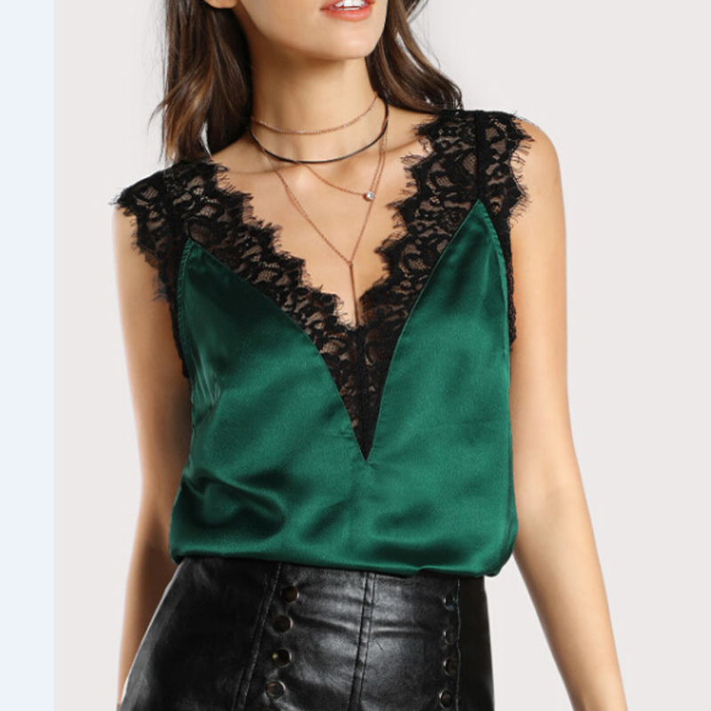 new 2018 Satin Lace   Blouses   Sexy   Shirts   Summer V Neck Sexy Crop Top Women Loose Sleeveless Camis Casual Tops   Blouse     Shirt
