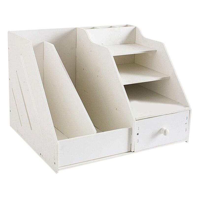 Boîte d'organisateur de papeterie de bureau à usage multiple avec support de livre de fichier de Document et support de tiroir de porte-stylo pour bloc-notes