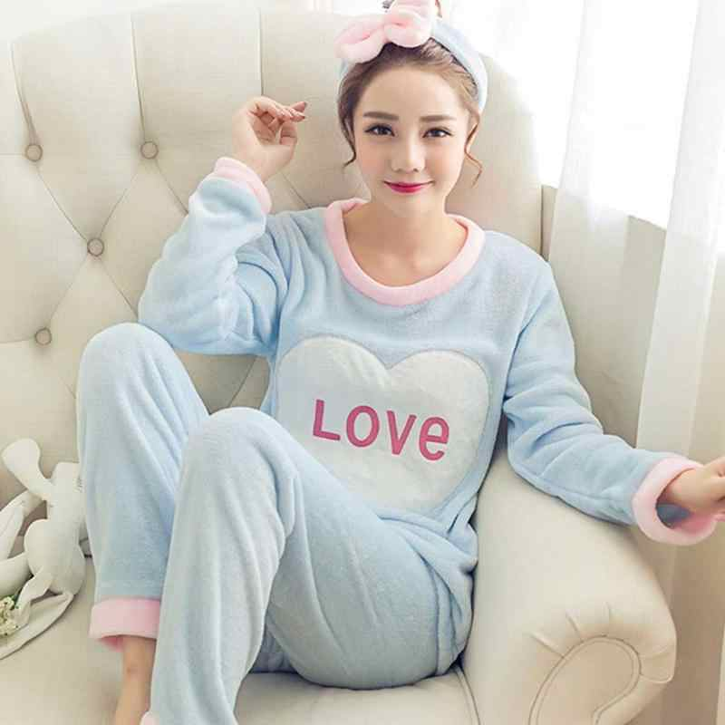 d2457de213 ... 2018 New And Warm Pajamas Suits Women s 2PCS Home Sweet Cute Cartoon Coral  Velvet Autumn And. RELATED PRODUCTS. Women s Winter Home Service ...