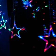 2-2.5M Romantic Fairy Star Led Curtain String Light Warm white EU220V Xmas Garland Light For Wedding Party Holiday Deco