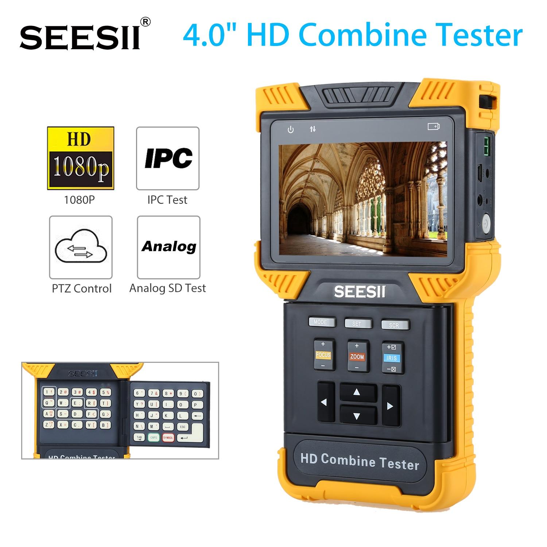 SEESII 4.0 1080P HD Combine Tester IP Analog Camera NTSC PAL IPC CCTV Tester POE ONVIF Handheld 800X480 LED Torch