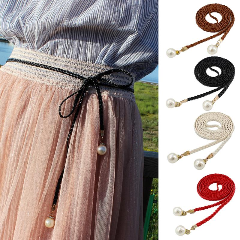 140CM Women Vintage pearl rope woven tassel belt female fine decorative dress sub all-match literary Korean fine leather rope