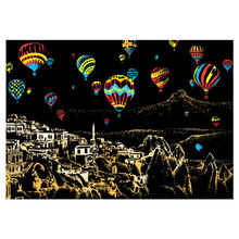 Kids Toys 40.5*28.5cm Hot Air Balloon Scene DIY Scratch Painting Scraping Art Painting Drawing Paper+Draw Stick Brush Frame(China)