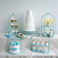 Blue cupcake stand cake tray high quality metal decoration plate for wedding storage rack &holder