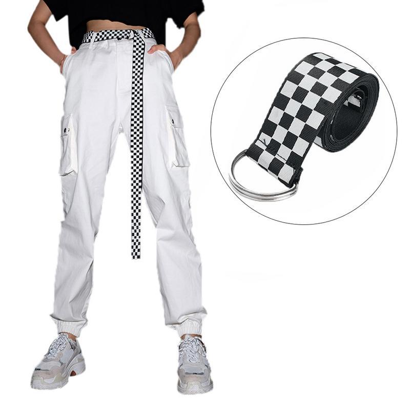135cm Womens Checkerboard Belt Canvas Cummerbunds Waistband Black White Plaid