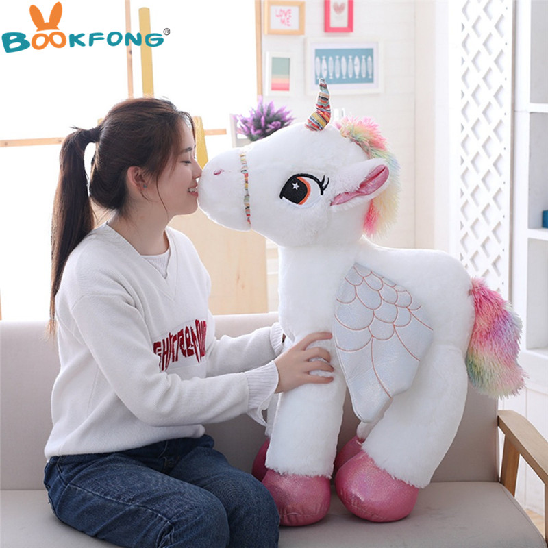 50/60/90cm Cute Unicorn Plush Toys Giant Stuffed Animal Horse Toys For Children Soft Doll Home Decor Lover Birthday Gift