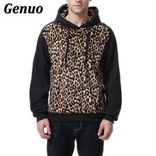 Genuo 2018 Autumn Mens Pullover Hoodies Slim Fit Leopard Print Streetwear Hoody Sweatshirt Casual Hip Hop Tops