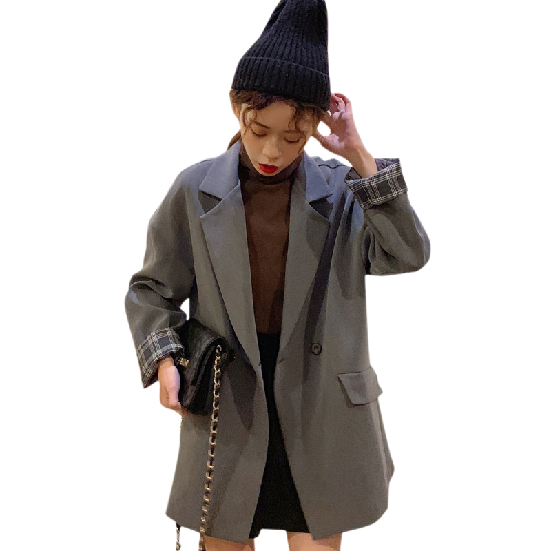 PEONFLY 2019 New Spring Women Blazers Black Gray Suit Jacket Coat Casual Solid Color Single Button Coat OL Blazer Femme