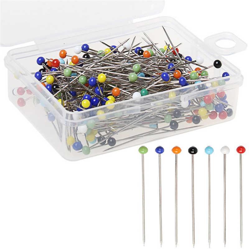 100pcs/set 38mm fashion Sewing Needles colored glass head bead pin stitch knitting needles sewing fixed DIY safety pin US001