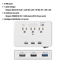 3 USB Ports AC Outlet Socket Wall Mount Surge Protector Night Light Power Strip with Quick Charger 3.0 Fast Charging US Plug