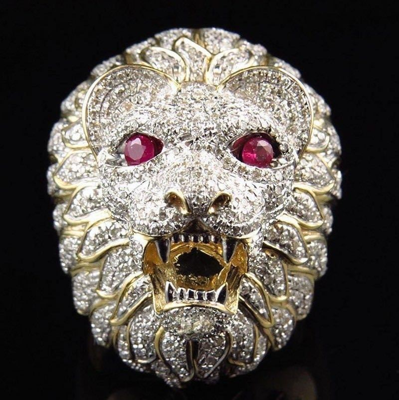 1 Pc Unterstützung Drop Schiff Rot-eyed Goldene-kurzhaarige Lion Ring 316l Edelstahl Mann Junge Mode Heißer Punk Rot Horror Beast Ring üBerlegene Materialien