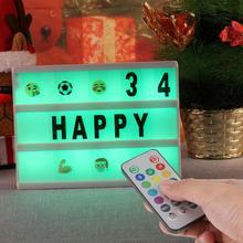 A5, 7 цветов, меняющий 160, Рождественский светодиодный светильник с буквами, Ночной светильник с беспроводным пультом дистанционного управления