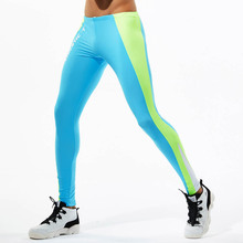 Men Running Training Sport Leggings Patchwork Compression